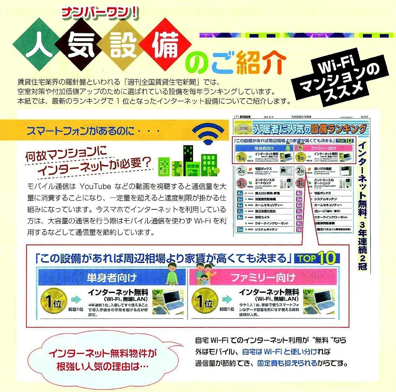 管理物件に光Wi-Fi(家電IOT化)を導入しました!ご入居者様は無料で利用できます!